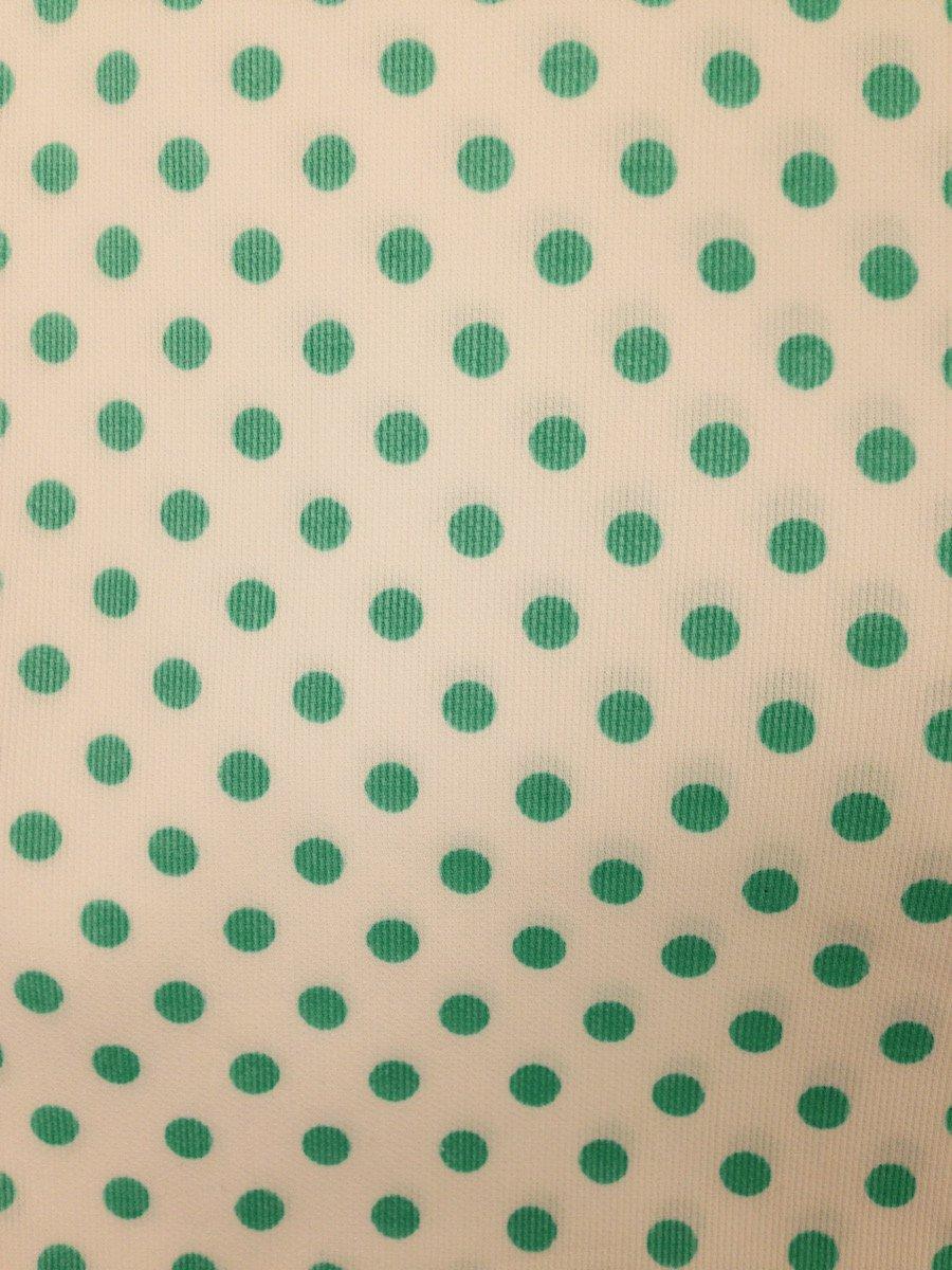 Aqua Dots on White Hemstitched Pique