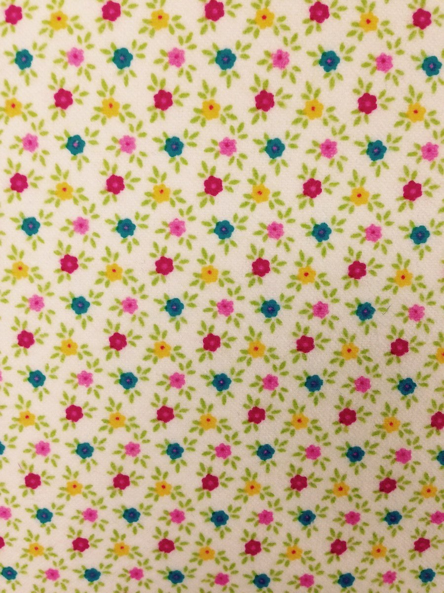 Multicolor Flowers on White Hemstitched Flannel
