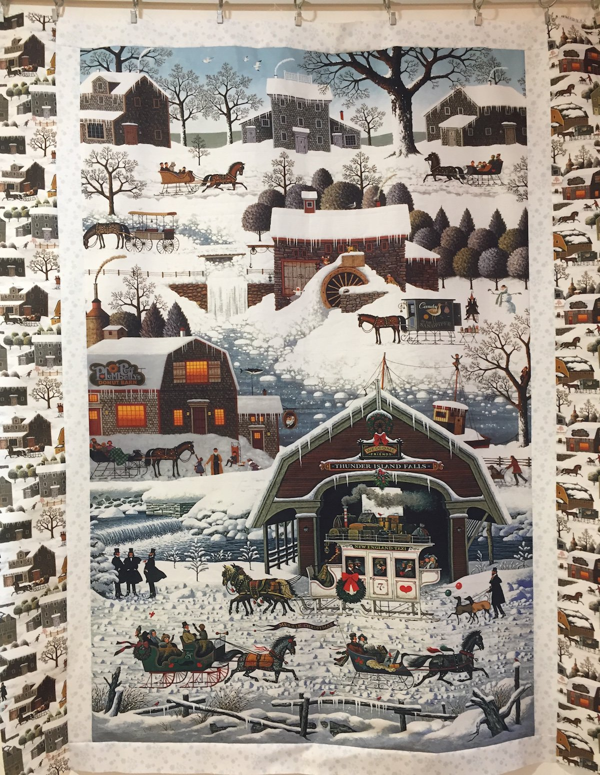 Charles Wysocki Winter Village Wall Quilt
