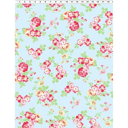 Janey Pink Flowers on Light Blue Y2700-29