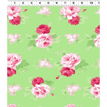 Janey Pink Roses on Light Green Y2701-20