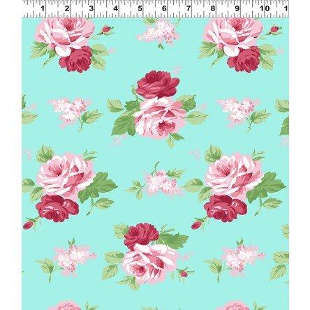 Janey Pink Roses on Light Aqua Y2701-32
