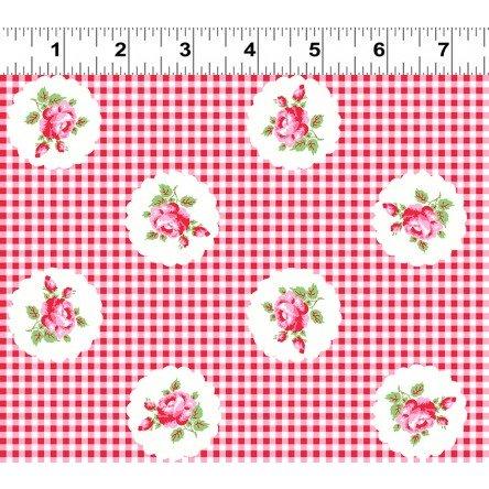 Janey Pink Roses on Light Red Gingham Y2704-4