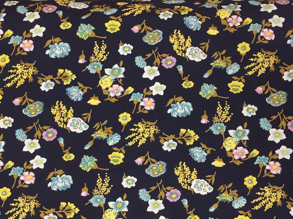 Pima Cotton Lawn Yellow/Aqua on Navy