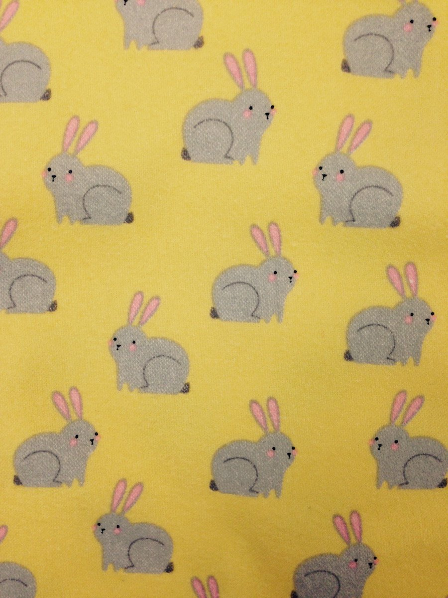 Gray Bunnies on Yellow Hemstitched Flannel
