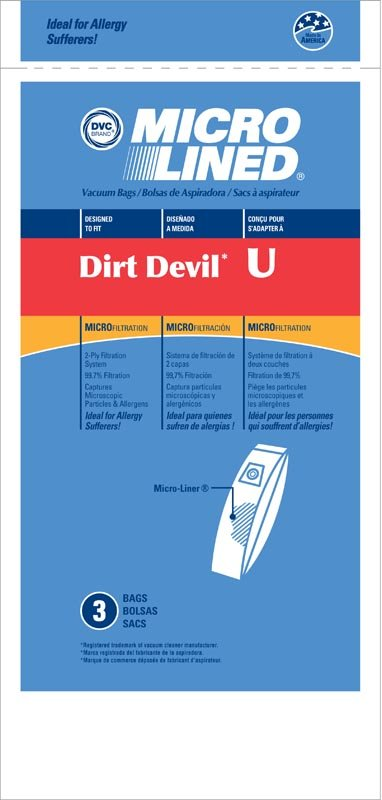 Dirt Devil Type U Vacuum Bags by DVC