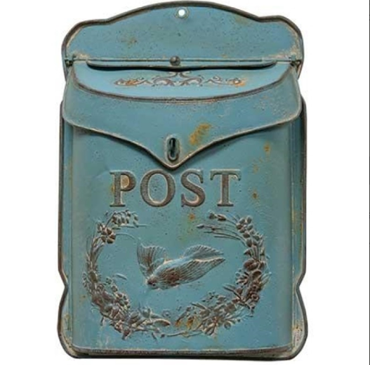 Rustic Blue Post Box