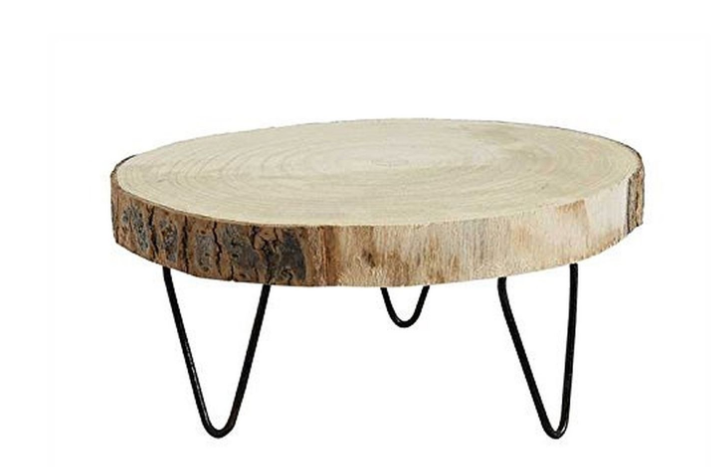 Round Wood Pedestal with Metal Legs