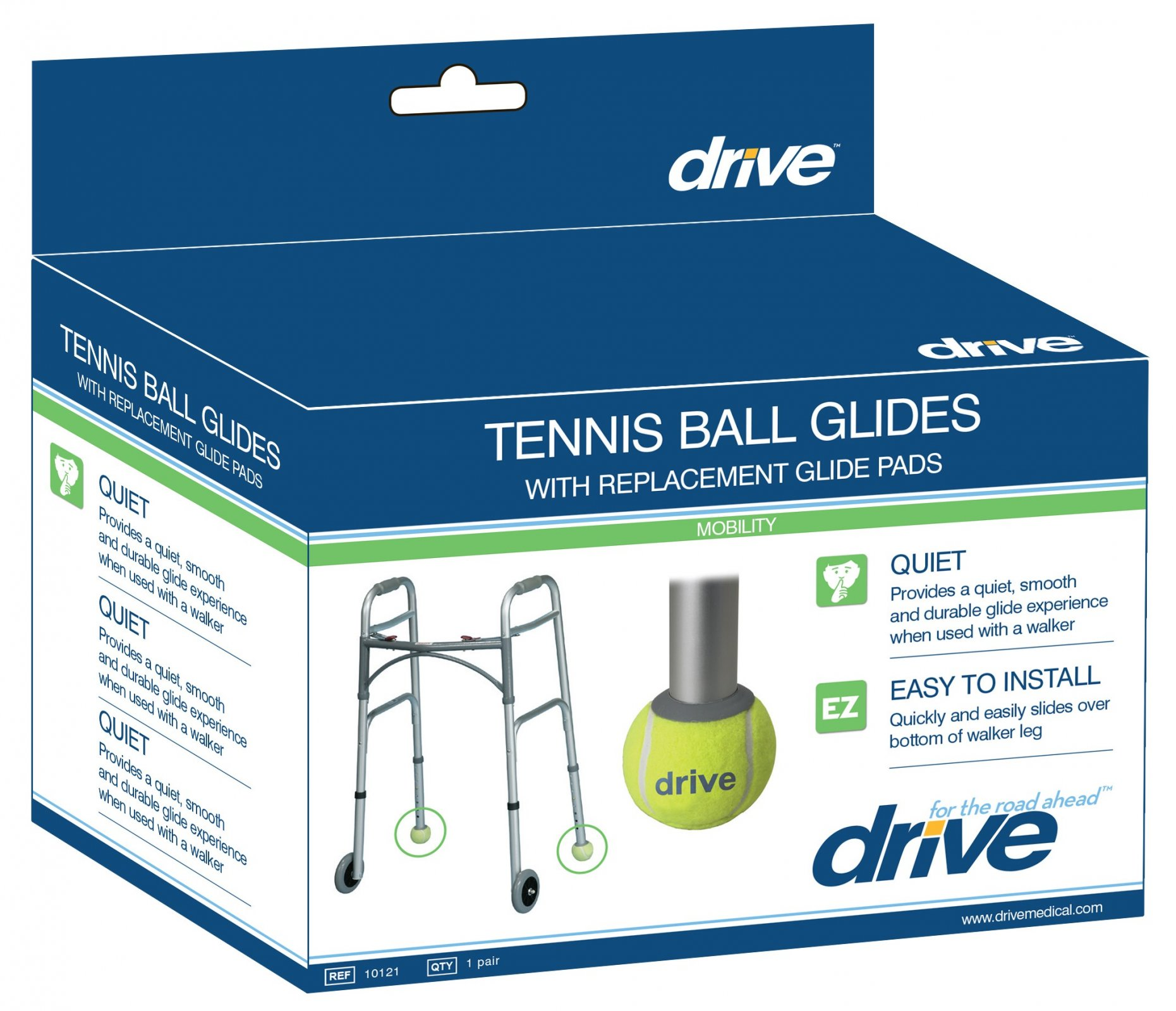 DRIVE Tennis Ball Box with Extra Glide Pads