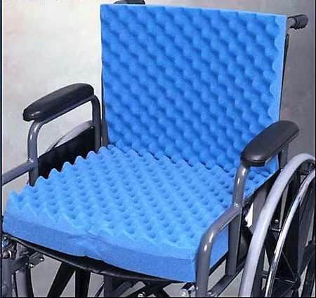 HERMELL Convoluted Foam Wheelchair Cushion with Back