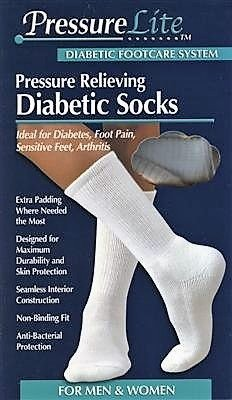 PRESSURELITE Diabetic Socks WHT LG