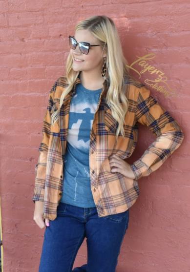 Miranda Flannel- Orange/Navy