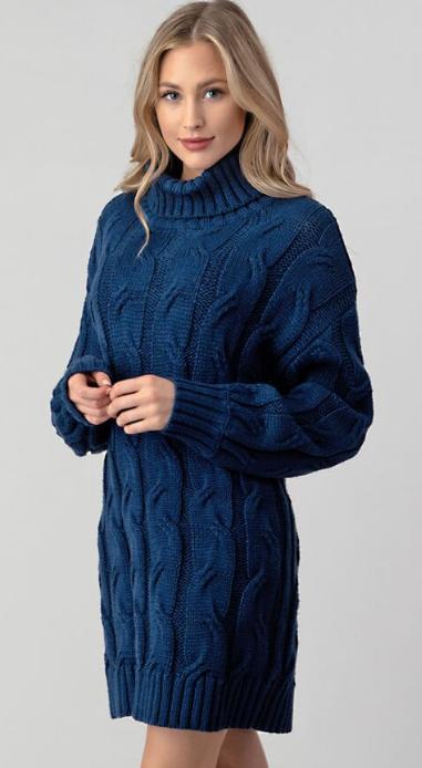 Showbiz Knitted Dress- R. Navy