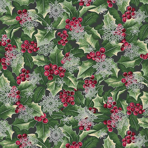 Festive Season Holly with Flakes Pine/Silver