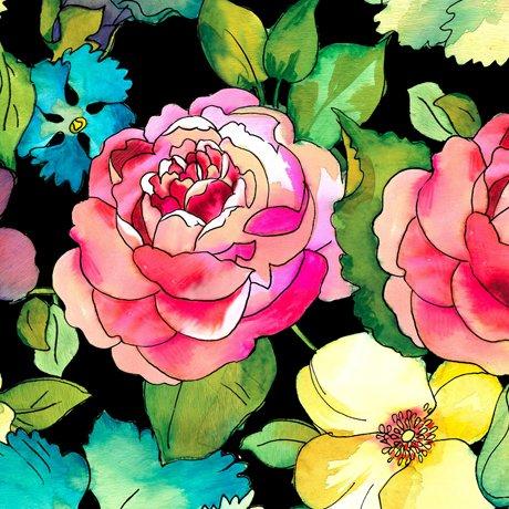 Rosalyn Large Floral Black