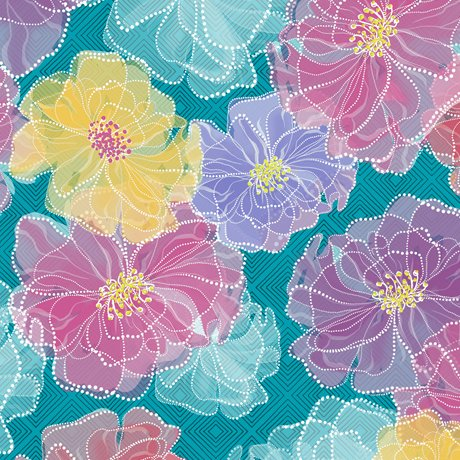 Rachel Dotted Floral Turquoise