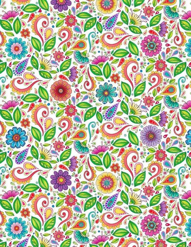 Rainbow Flight Floral on White
