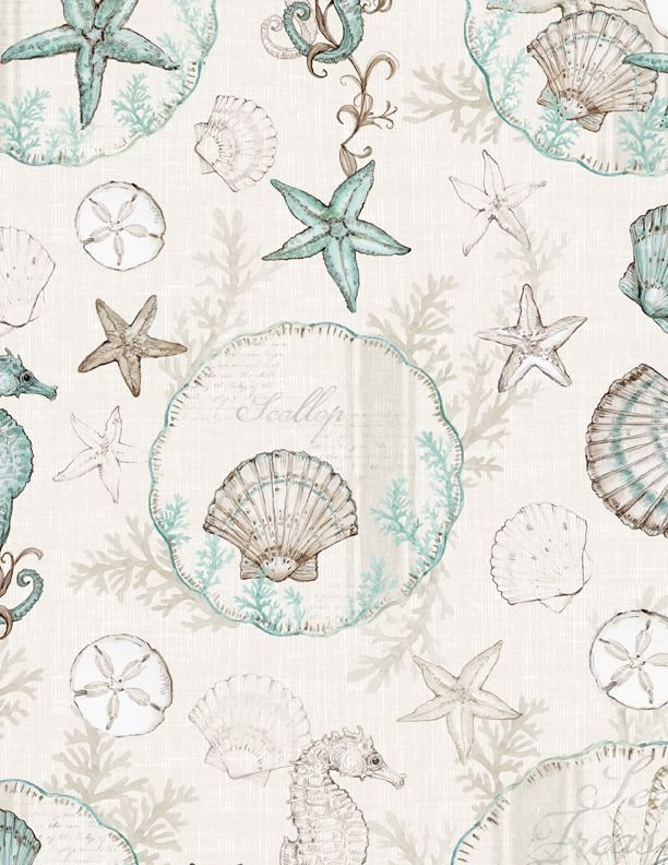 Coastal Wishes All Over Shells on Cream