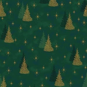 It's Snowflake Gold and Silver Trees on Green
