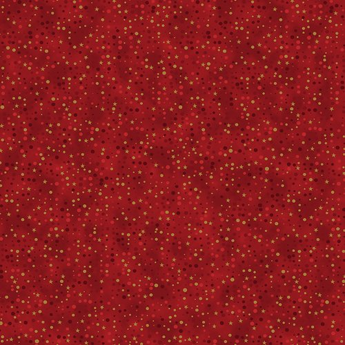 Christmas is Near Red with Gold stars and Dots