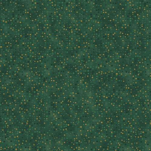 Christmas is Near Green with Gold Stars and Dots