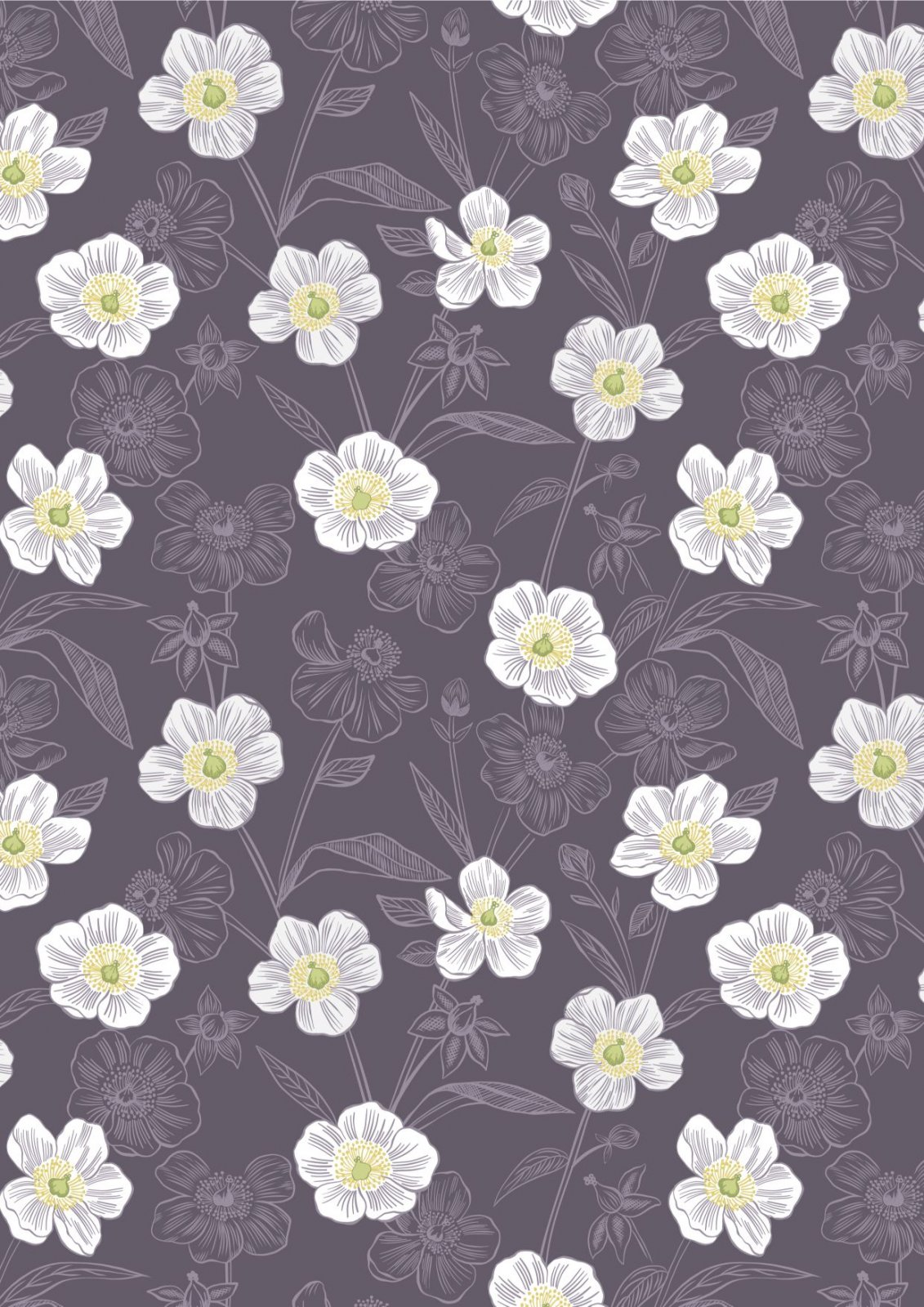 Rambling Floral Dark Purple