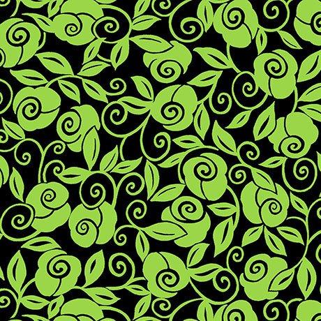 Brooke Floral Scroll Black Lime