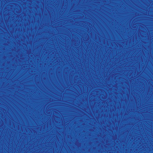 Peacock Flourish Opulence Tonal Dark Blue