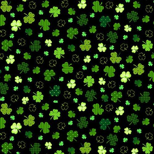 Irish Folk Shamrocks Black
