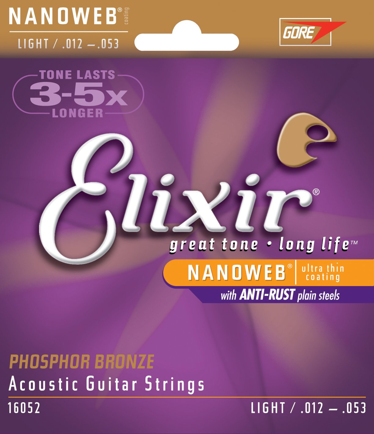 Elixir 80/20 12-53 Bronze Nanoweb Coating Custom Light Acoustic Guitar Strings