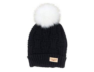 Lined Pom Pom Beanie Hat