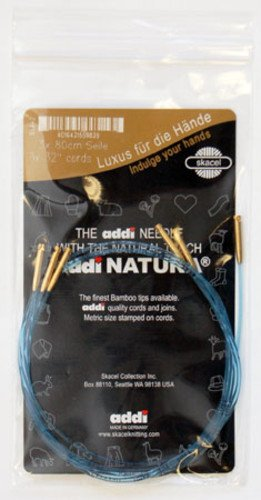 Addi Click Bamboo, Olive & Crochet Cords (Gold end)