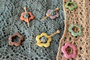 Stone Flower Shawl Pin