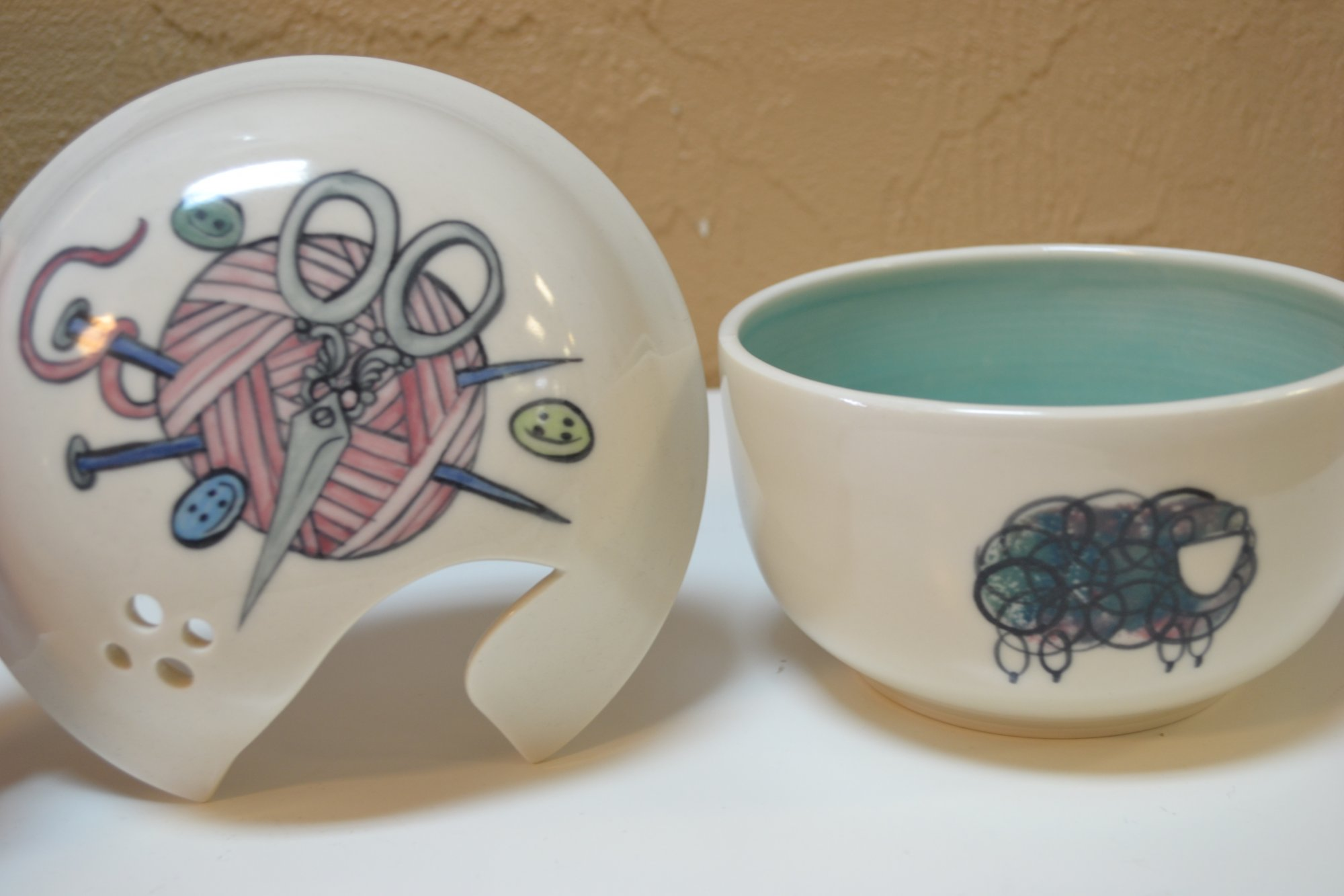 Lidded Yarn Bowl Painted Design