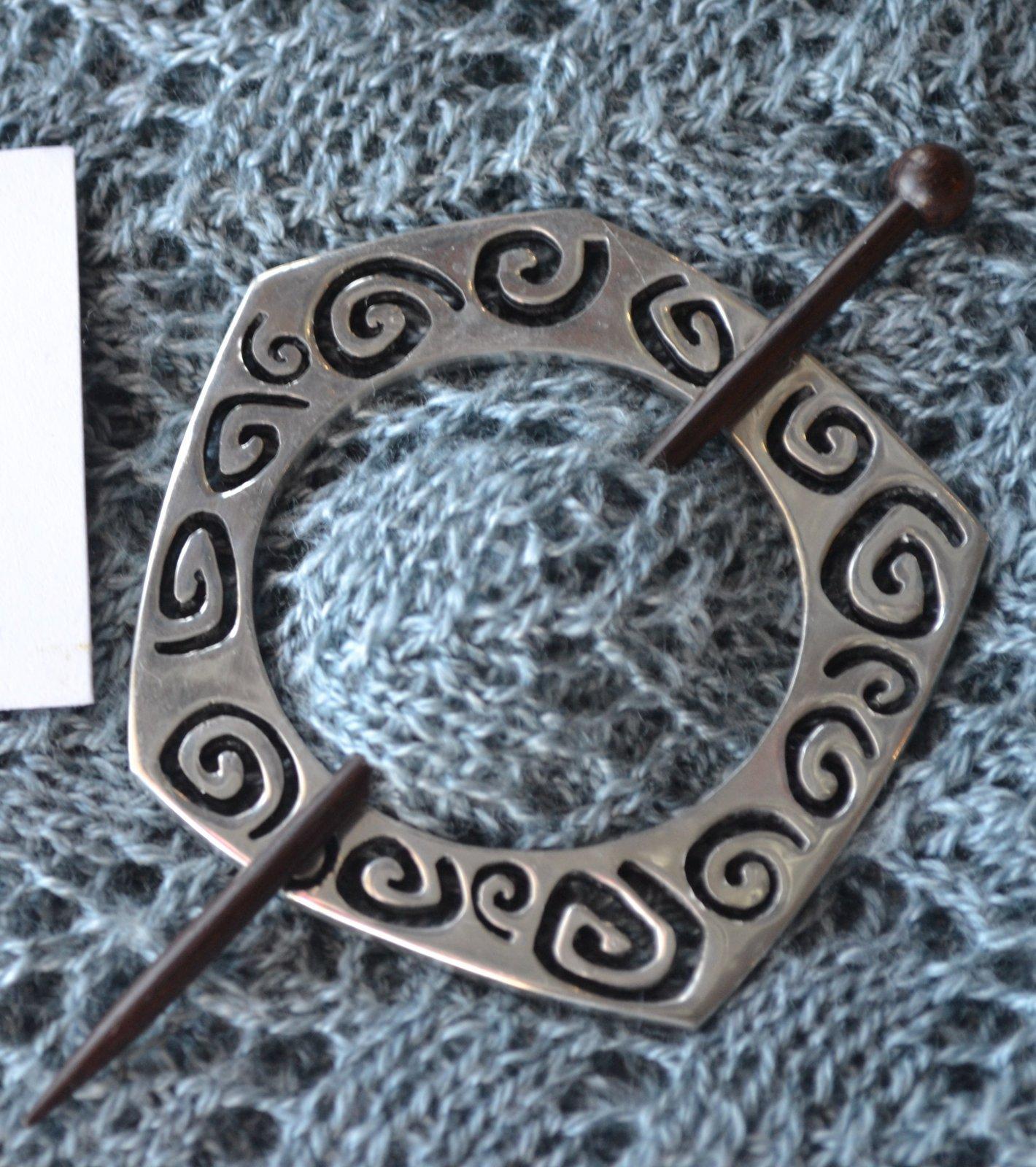 Pentagon Spiral Shawl Pin