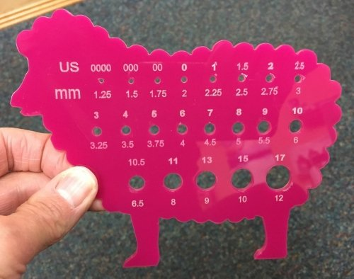 Pink Acrylic Sheep Needle Gauge
