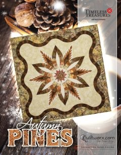 Autumn Pines Kit - Includes Fabric, Pattern and Creative Grids Diamond Wedding Ring Template Set