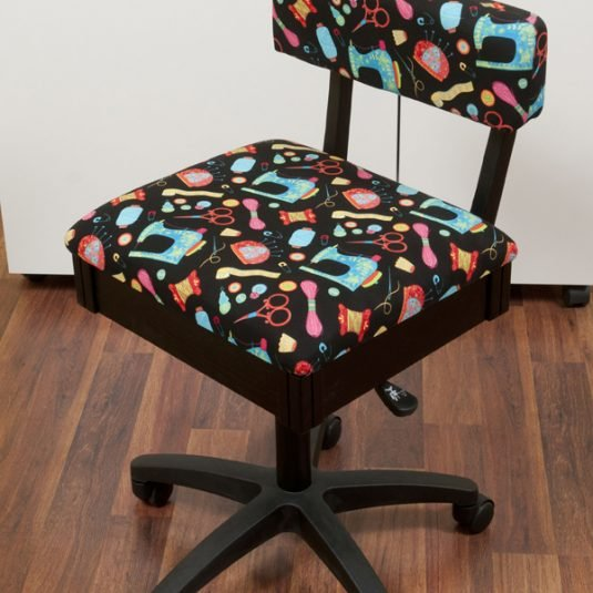 HYDRAULIC SEWING CHAIR WITH BLACK FABRIC-SEWING THEME