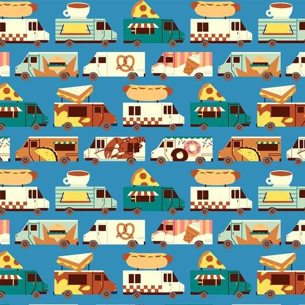 Food Truck Stripe on Blue from Paintbrush Studio