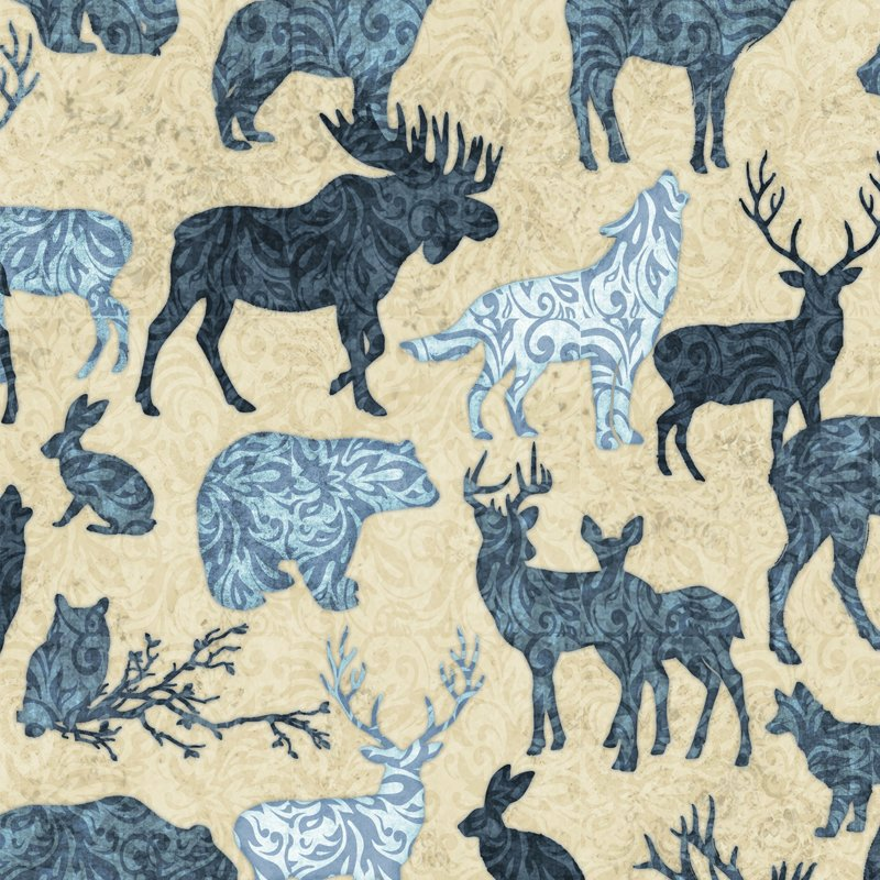 Woodland Spirit Blue Animals from Quilting Treasures