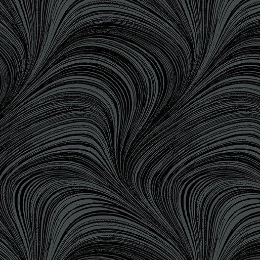 Wave Texture  Wide Quilt Backing in Black from Benartex Fabrics