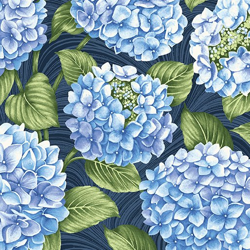 Hydrangea Blue All Over Hydrangea in Dark Blue from Benartex Fabrics