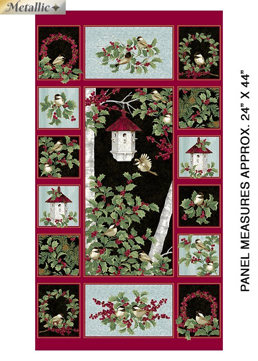Benartex - Festive Chickadees Panel by Jackie Robinson of Animas Quilts