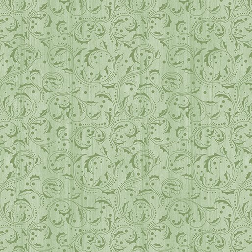 Benartex - Festive Chickadees Washed Scroll Light Green by Jackie Robinson if Animas Quilts