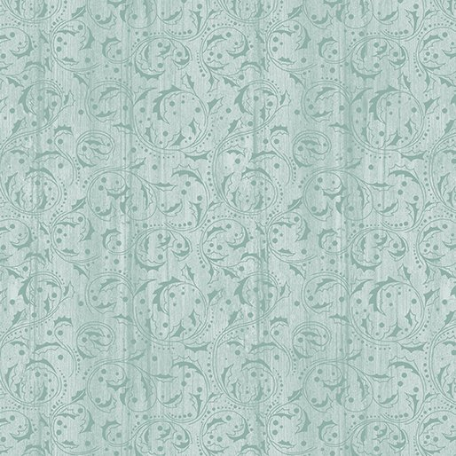 Benartex - Festive Chickadees Washed Scroll Sea Mist by Jackie Robinson of Animas Quilts