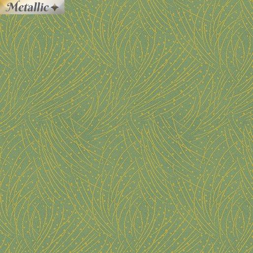 Benartex - Festive Chickadees Golden Pine Leaf by Jackie Robinson of Animas Quilts
