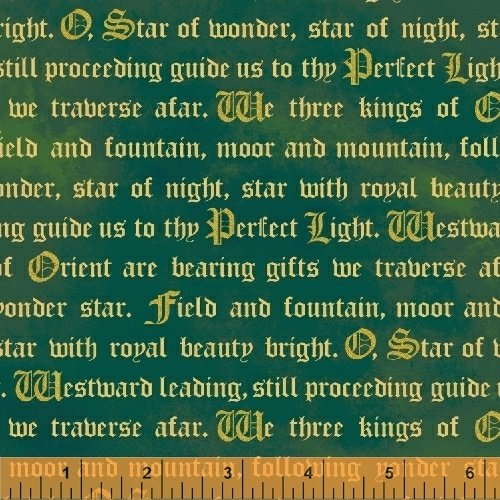 Three Kings Words in Emerald from Windham Fabrics