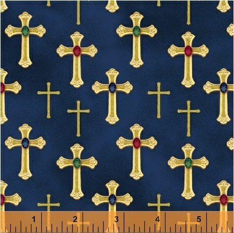 Three Kings Crosses in Sapphire from Windham Fabrics
