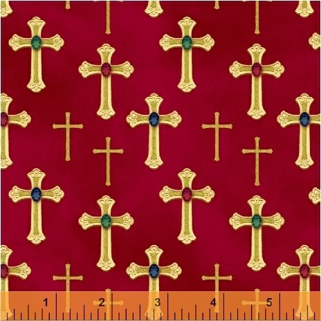 Three Kings Crosses in Ruby from Windham Fabrics