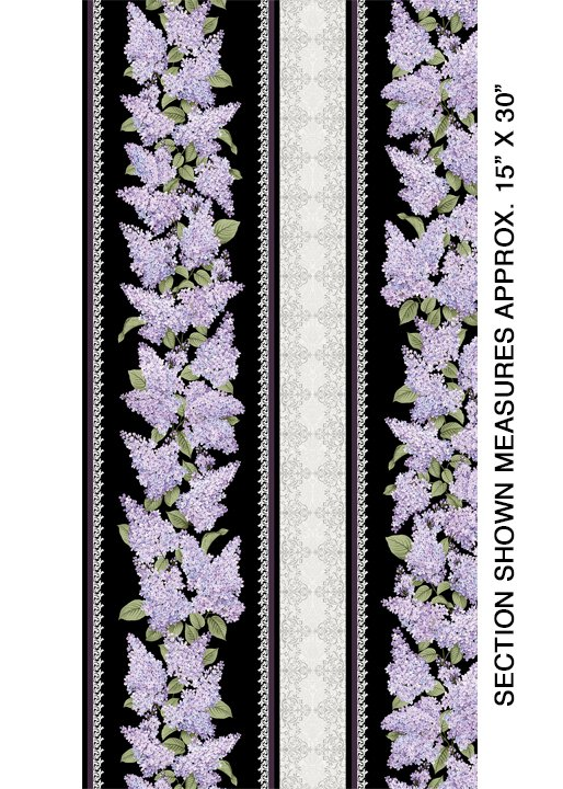 Lilacs in Bloom Stripe Black from Benartex